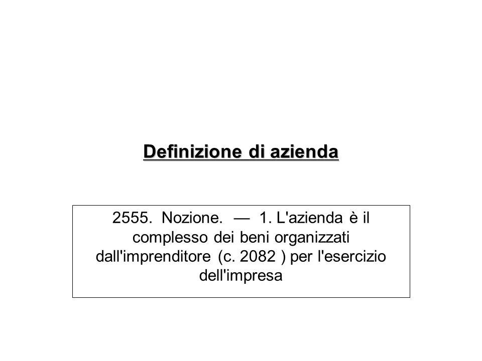 Definizione di azienda 2555. Nozione. 1. L'azienda è il complesso dei beni organizzati dall'imprenditore (c. 2082 ) per l'esercizio dell'impresa