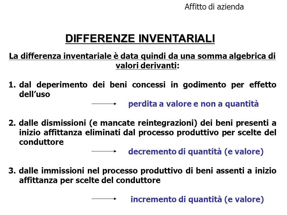 DIFFERENZE INVENTARIALI Affitto di azienda La differenza inventariale è data quindi da una somma algebrica di valori derivanti: 1.dal deperimento dei