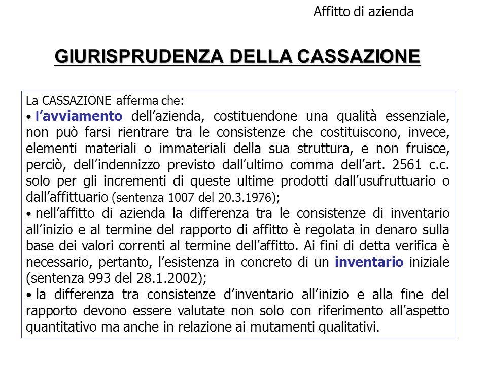 GIURISPRUDENZA DELLA CASSAZIONE Affitto di azienda La CASSAZIONE afferma che: l avviamento dellazienda, costituendone una qualità essenziale, non può
