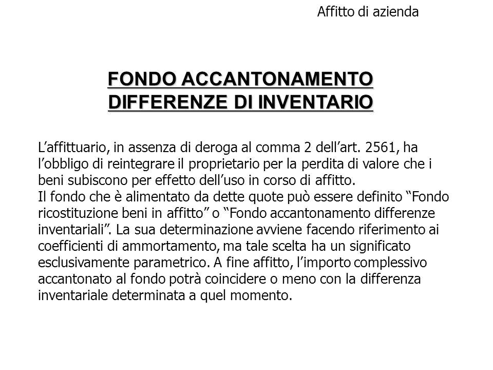 FONDO ACCANTONAMENTO DIFFERENZE DI INVENTARIO Affitto di azienda Laffittuario, in assenza di deroga al comma 2 dellart. 2561, ha lobbligo di reintegra