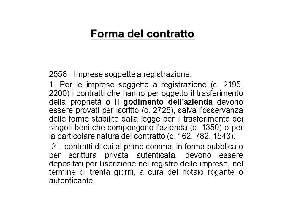 Forma del contratto 2556 - Imprese soggette a registrazione. 1. Per le imprese soggette a registrazione (c. 2195, 2200) i contratti che hanno per ogge