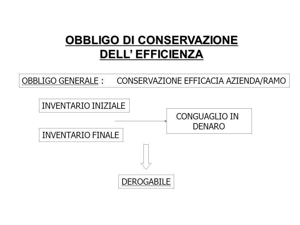OBBLIGO DI CONSERVAZIONE DELL EFFICIENZA OBBLIGO GENERALE : CONSERVAZIONE EFFICACIA AZIENDA/RAMO INVENTARIO INIZIALE INVENTARIO FINALE CONGUAGLIO IN D