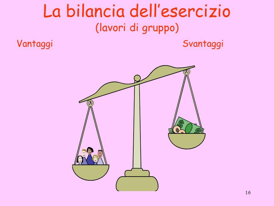 16 La bilancia dellesercizio (lavori di gruppo) SvantaggiVantaggi