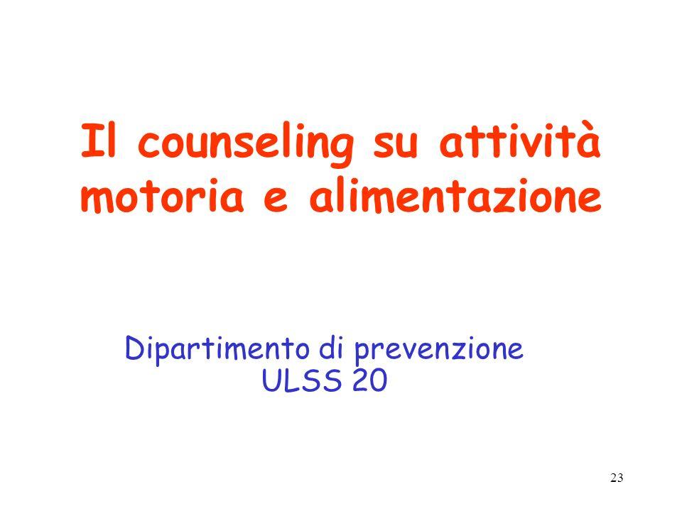 23 Il counseling su attività motoria e alimentazione Dipartimento di prevenzione ULSS 20