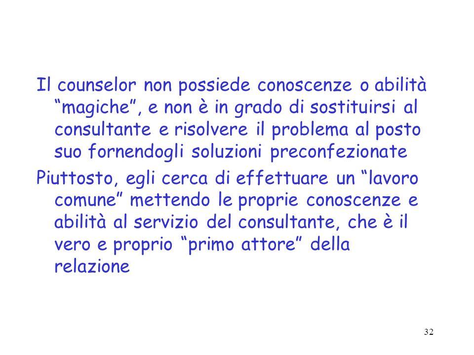 32 Il counselor non possiede conoscenze o abilità magiche, e non è in grado di sostituirsi al consultante e risolvere il problema al posto suo fornend