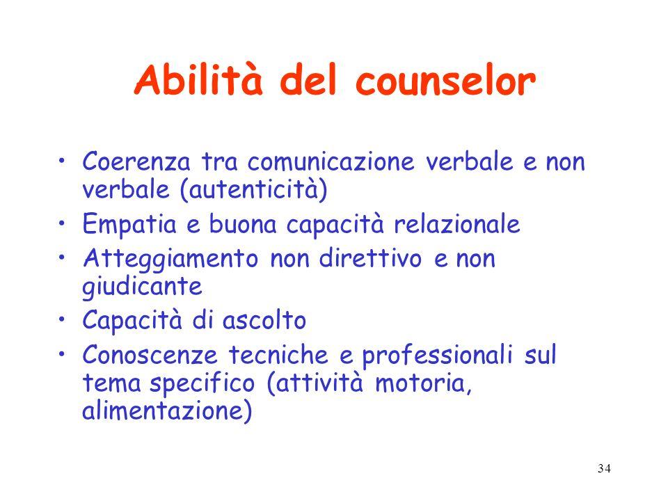 34 Abilità del counselor Coerenza tra comunicazione verbale e non verbale (autenticità) Empatia e buona capacità relazionale Atteggiamento non diretti