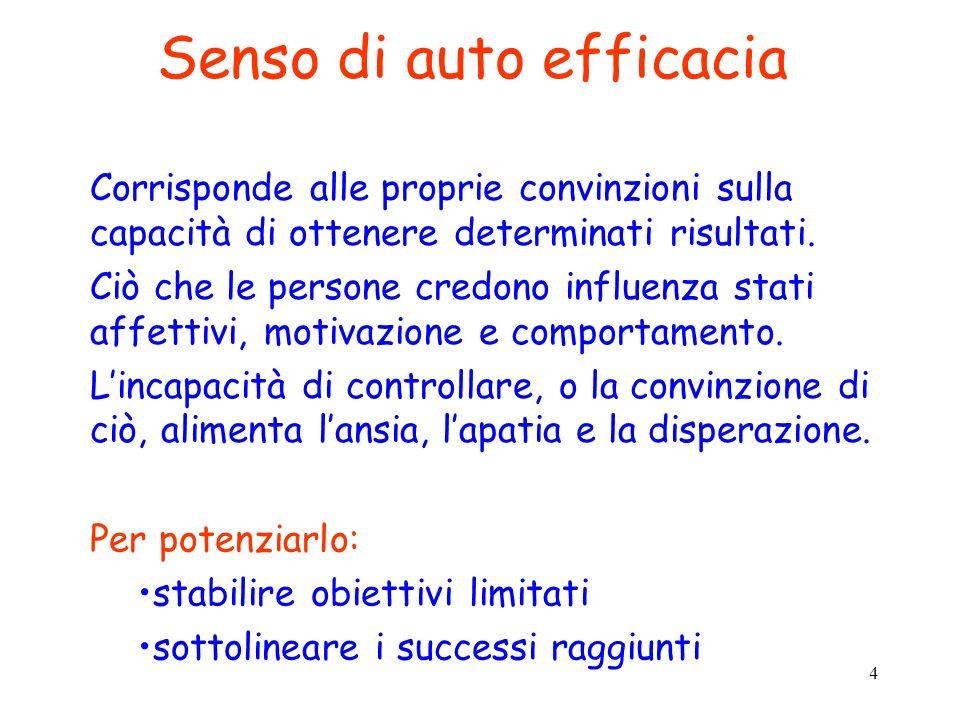 4 Senso di auto efficacia Corrisponde alle proprie convinzioni sulla capacità di ottenere determinati risultati. Ciò che le persone credono influenza