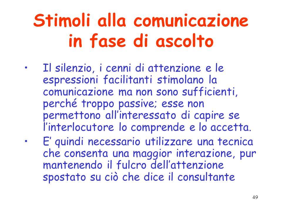 49 Stimoli alla comunicazione in fase di ascolto Il silenzio, i cenni di attenzione e le espressioni facilitanti stimolano la comunicazione ma non son