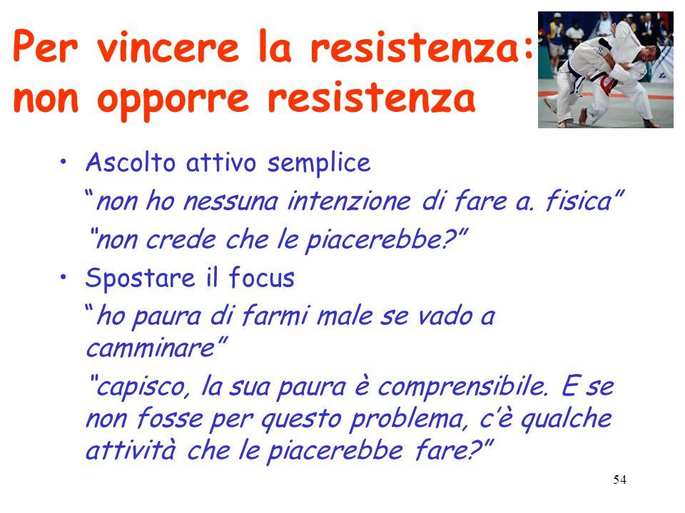 54 Per vincere la resistenza: non opporre resistenza Ascolto attivo semplice non ho nessuna intenzione di fare a. fisica non crede che le piacerebbe?