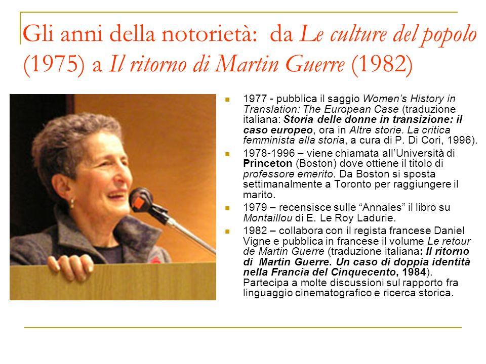 Gli anni della notorietà: da Le culture del popolo (1975) a Il ritorno di Martin Guerre (1982) 1977 - pubblica il saggio Womens History in Translation