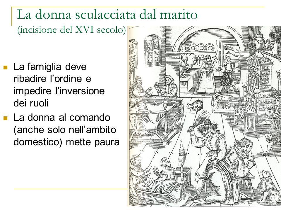 La donna sculacciata dal marito (incisione del XVI secolo) La famiglia deve ribadire lordine e impedire linversione dei ruoli La donna al comando (anc