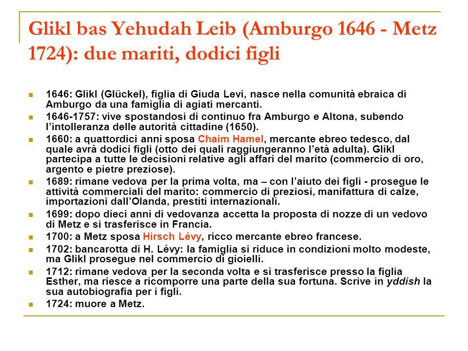 Glikl bas Yehudah Leib (Amburgo 1646 - Metz 1724): due mariti, dodici figli 1646: Glikl (Glückel), figlia di Giuda Levi, nasce nella comunità ebraica