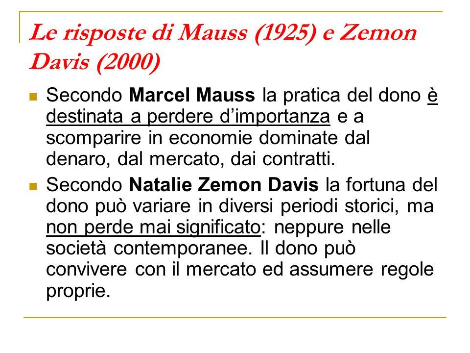 Le risposte di Mauss (1925) e Zemon Davis (2000) Secondo Marcel Mauss la pratica del dono è destinata a perdere dimportanza e a scomparire in economie