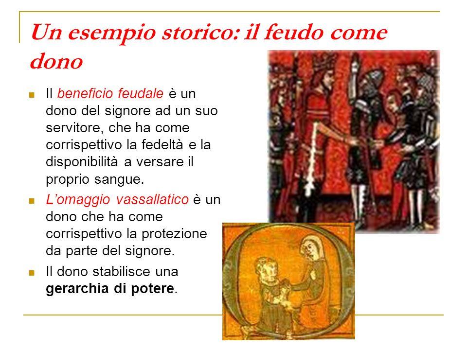 Un esempio storico: il feudo come dono Il beneficio feudale è un dono del signore ad un suo servitore, che ha come corrispettivo la fedeltà e la dispo