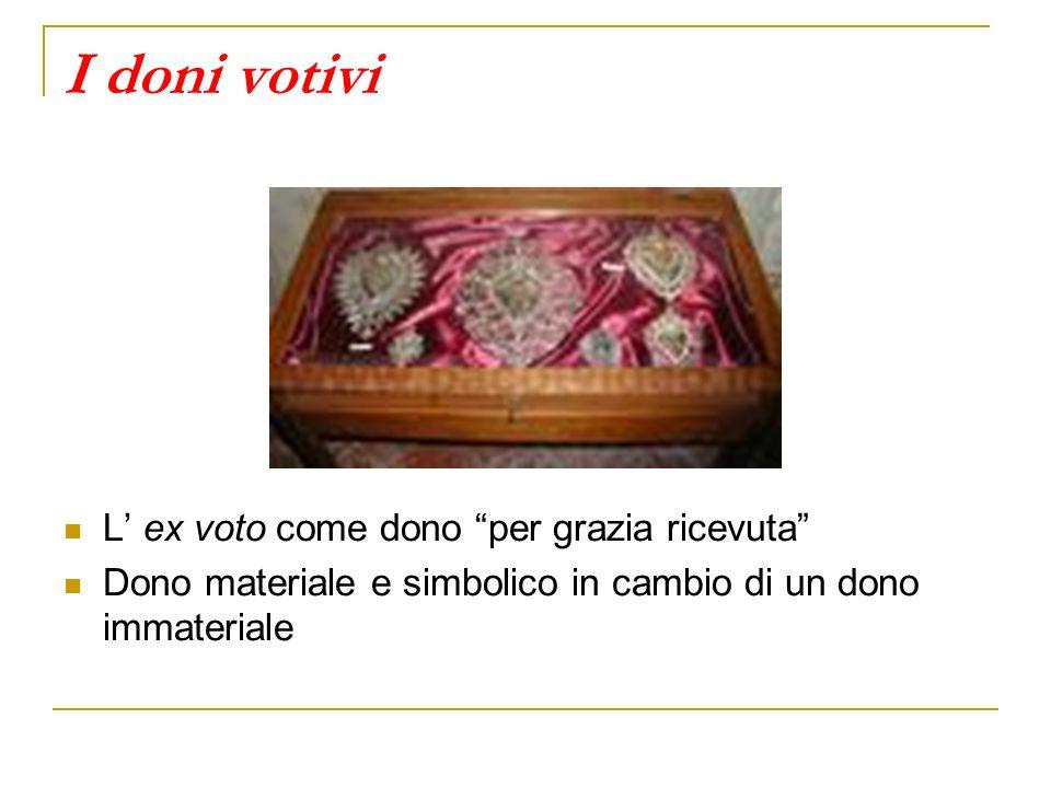 I doni votivi L ex voto come dono per grazia ricevuta Dono materiale e simbolico in cambio di un dono immateriale