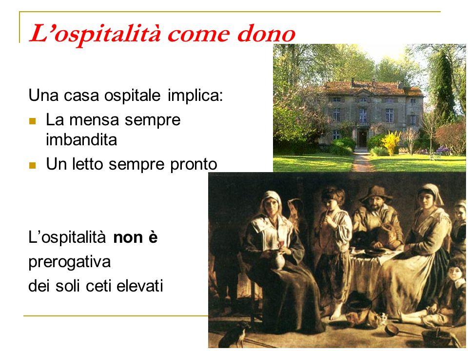 Lospitalità come dono Una casa ospitale implica: La mensa sempre imbandita Un letto sempre pronto Lospitalità non è prerogativa dei soli ceti elevati