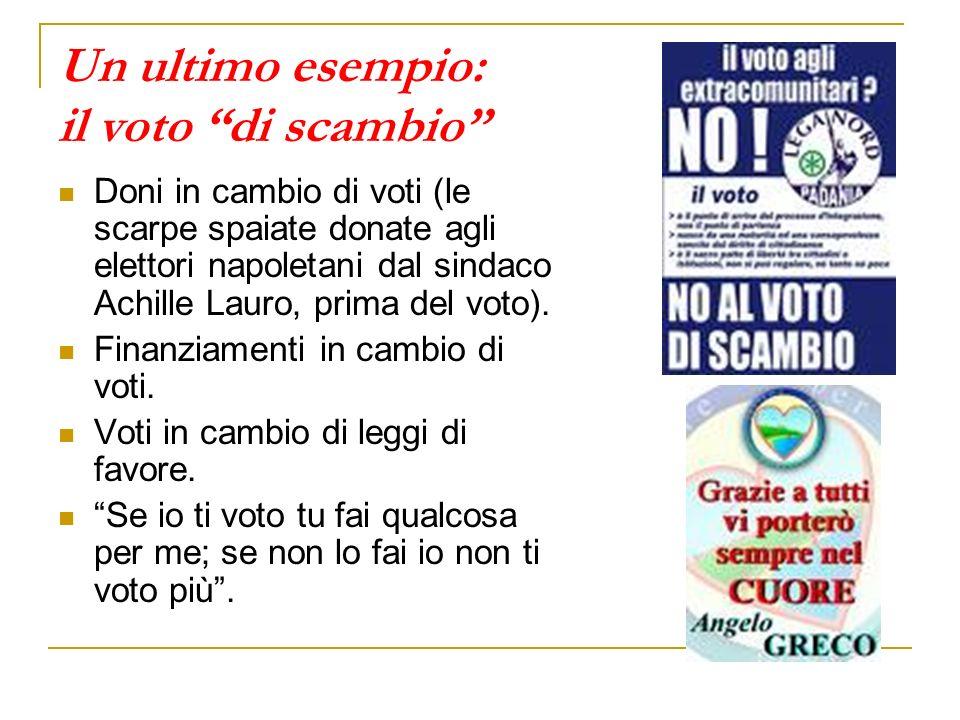 Un ultimo esempio: il voto di scambio Doni in cambio di voti (le scarpe spaiate donate agli elettori napoletani dal sindaco Achille Lauro, prima del v