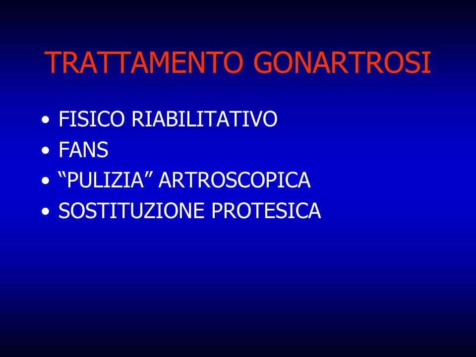 TRATTAMENTO GONARTROSI FISICO RIABILITATIVO FANS PULIZIA ARTROSCOPICA SOSTITUZIONE PROTESICA