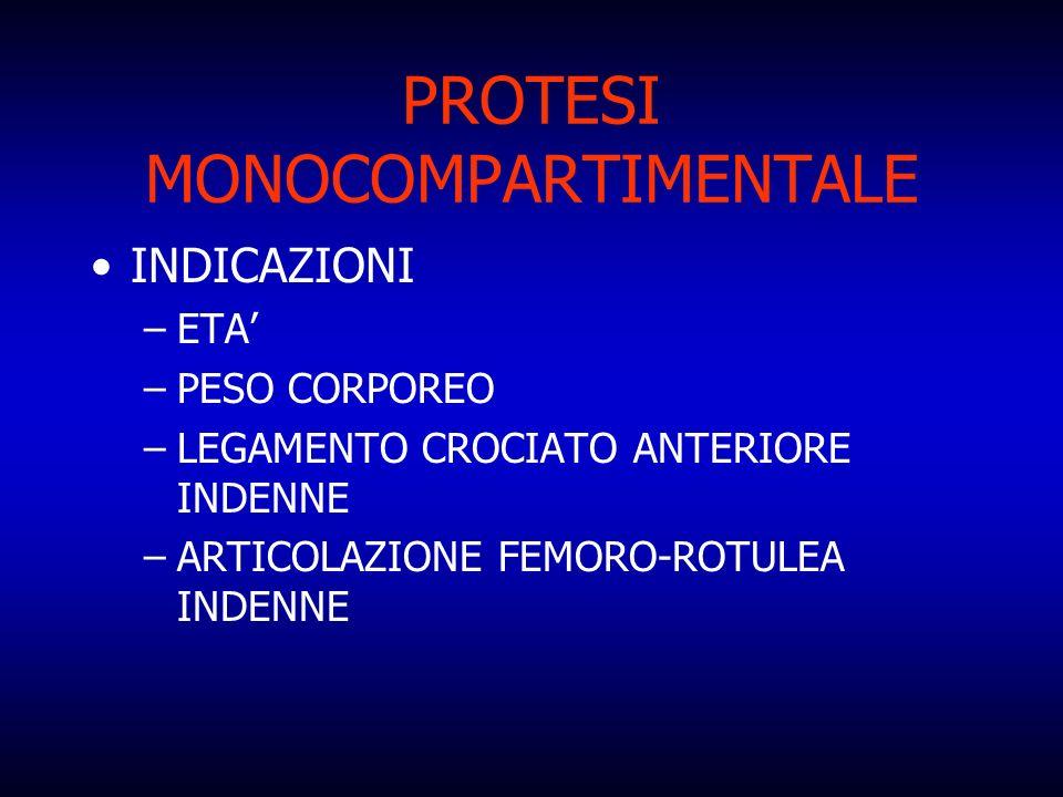 PROTESI MONOCOMPARTIMENTALE INDICAZIONI –ETA –PESO CORPOREO –LEGAMENTO CROCIATO ANTERIORE INDENNE –ARTICOLAZIONE FEMORO-ROTULEA INDENNE