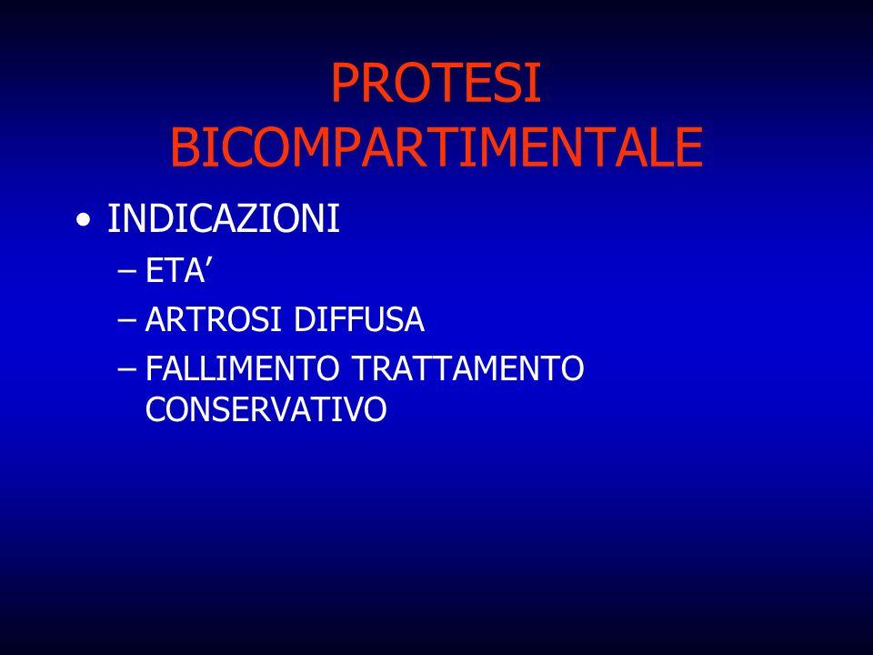 PROTESI BICOMPARTIMENTALE INDICAZIONI –ETA –ARTROSI DIFFUSA –FALLIMENTO TRATTAMENTO CONSERVATIVO