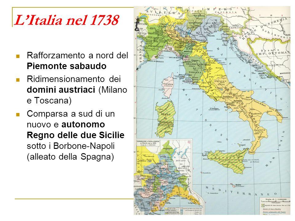 LItalia nel 1738 Rafforzamento a nord del Piemonte sabaudo Ridimensionamento dei domini austriaci (Milano e Toscana) Comparsa a sud di un nuovo e auto
