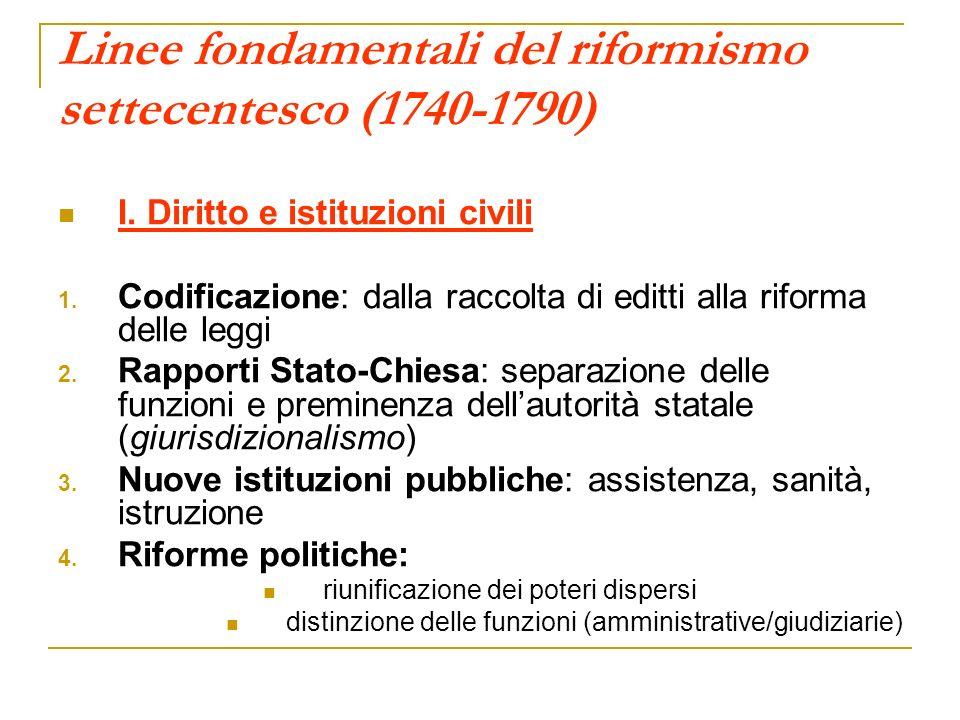 Linee fondamentali del riformismo settecentesco (1740-1790) I. Diritto e istituzioni civili 1. Codificazione: dalla raccolta di editti alla riforma de