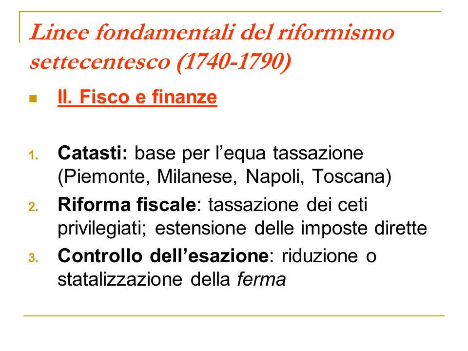 Linee fondamentali del riformismo settecentesco (1740-1790) II. Fisco e finanze 1. Catasti: base per lequa tassazione (Piemonte, Milanese, Napoli, Tos