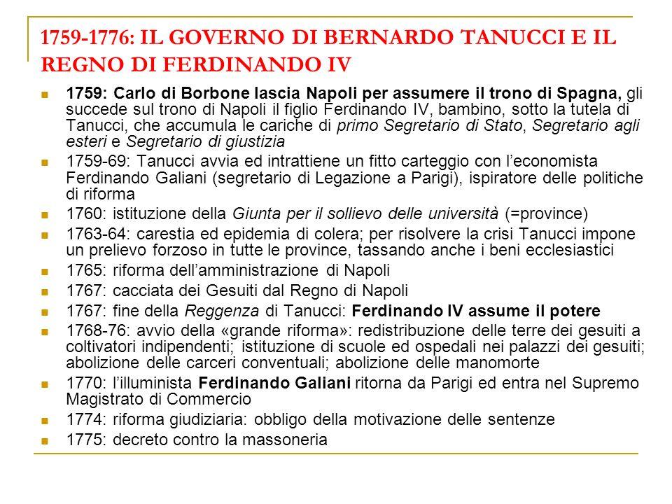 1759-1776: IL GOVERNO DI BERNARDO TANUCCI E IL REGNO DI FERDINANDO IV 1759: Carlo di Borbone lascia Napoli per assumere il trono di Spagna, gli succed