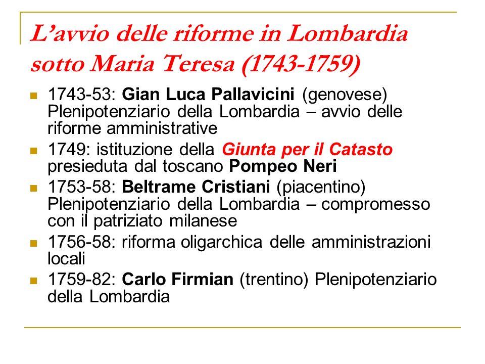Lavvio delle riforme in Lombardia sotto Maria Teresa (1743-1759) 1743-53: Gian Luca Pallavicini (genovese) Plenipotenziario della Lombardia – avvio de