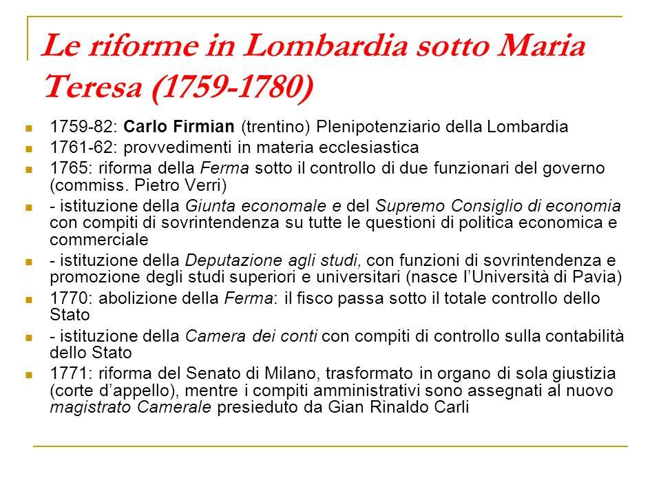 Le riforme in Lombardia sotto Maria Teresa (1759-1780) 1759-82: Carlo Firmian (trentino) Plenipotenziario della Lombardia 1761-62: provvedimenti in ma