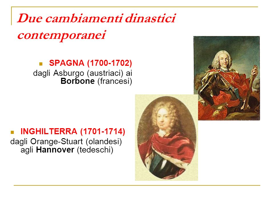Due cambiamenti dinastici contemporanei SPAGNA (1700-1702) dagli Asburgo (austriaci) ai Borbone (francesi) INGHILTERRA (1701-1714) dagli Orange-Stuart