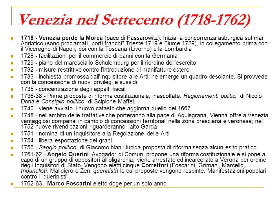 Venezia nel Settecento (1718-1762) 1718 - Venezia perde la Morea (pace di Passarowitz). Inizia la concorrenza asburgica sul mar Adriatico (sono procla