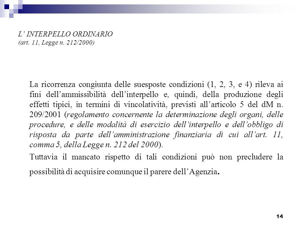 14 L INTERPELLO ORDINARIO (art. 11, Legge n. 212/2000) La ricorrenza congiunta delle suesposte condizioni (1, 2, 3, e 4) rileva ai fini dellammissibil