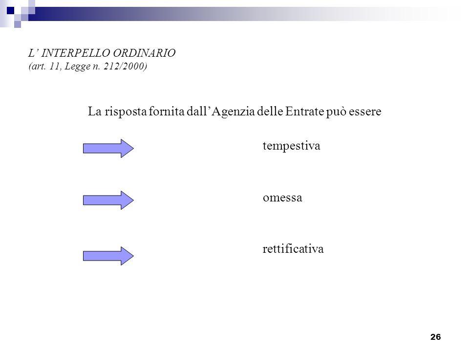 26 L INTERPELLO ORDINARIO (art. 11, Legge n. 212/2000) La risposta fornita dallAgenzia delle Entrate può essere tempestiva omessa rettificativa