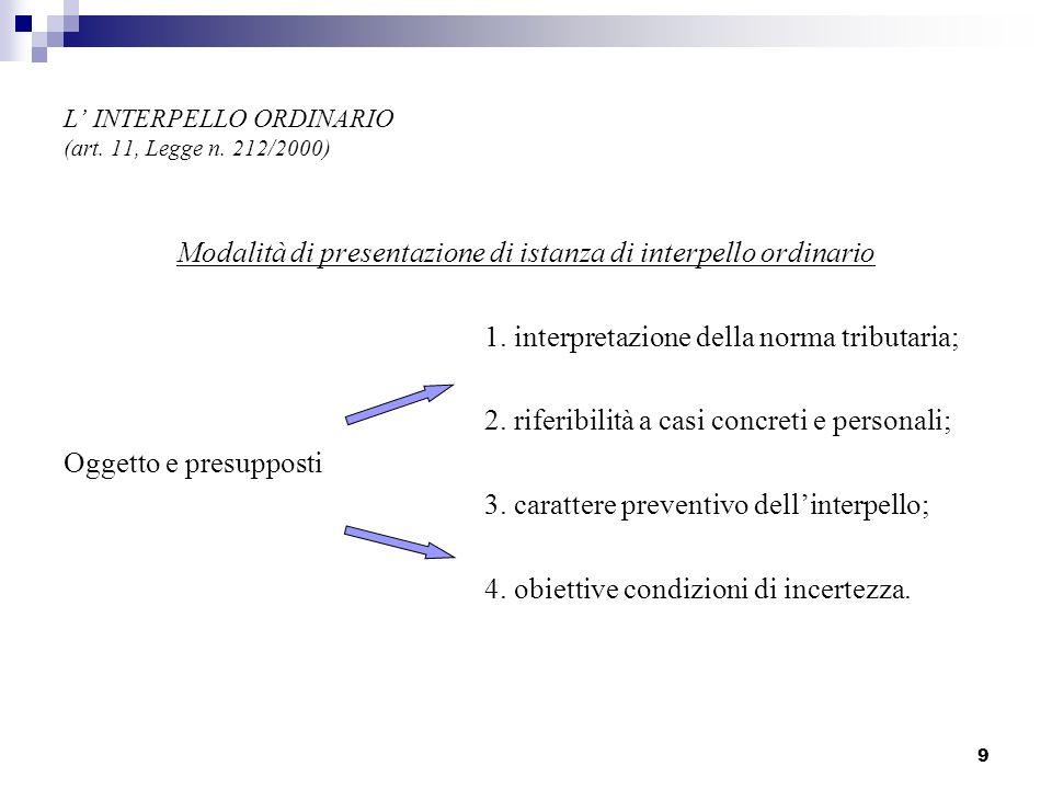 9 L INTERPELLO ORDINARIO (art. 11, Legge n. 212/2000) Modalità di presentazione di istanza di interpello ordinario 1. interpretazione della norma trib