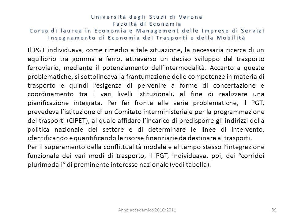 39 Università degli Studi di Verona Facoltà di Economia Corso di laurea in Economia e Management delle Imprese di Servizi Insegnamento di Economia dei