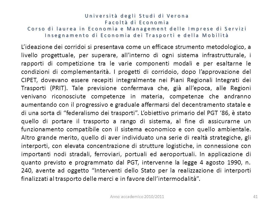 41 Università degli Studi di Verona Facoltà di Economia Corso di laurea in Economia e Management delle Imprese di Servizi Insegnamento di Economia dei