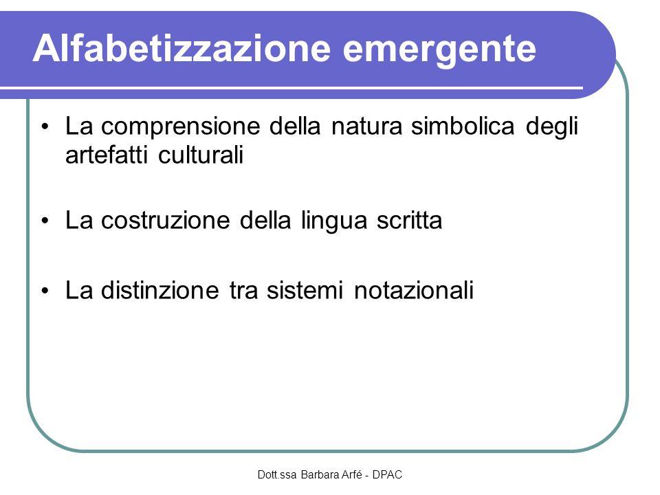 Lo sviluppo del concetto di artefatto simbolico Dott.ssa Barbara Arfé - DPAC