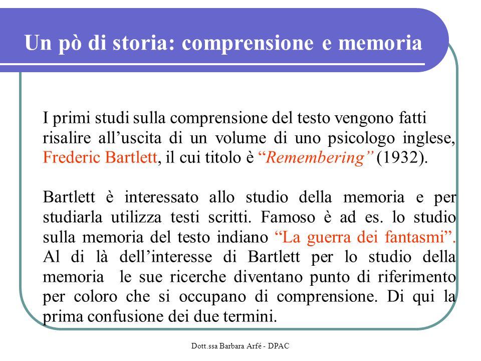 Un pò di storia: comprensione e memoria I primi studi sulla comprensione del testo vengono fatti risalire alluscita di un volume di uno psicologo inglese, Frederic Bartlett, il cui titolo è Remembering (1932).