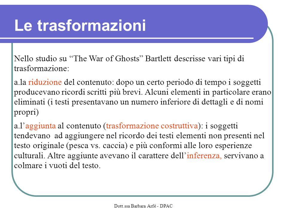 Le trasformazioni Nello studio su The War of Ghosts Bartlett descrisse vari tipi di trasformazione: a.la riduzione del contenuto: dopo un certo periodo di tempo i soggetti producevano ricordi scritti più brevi.