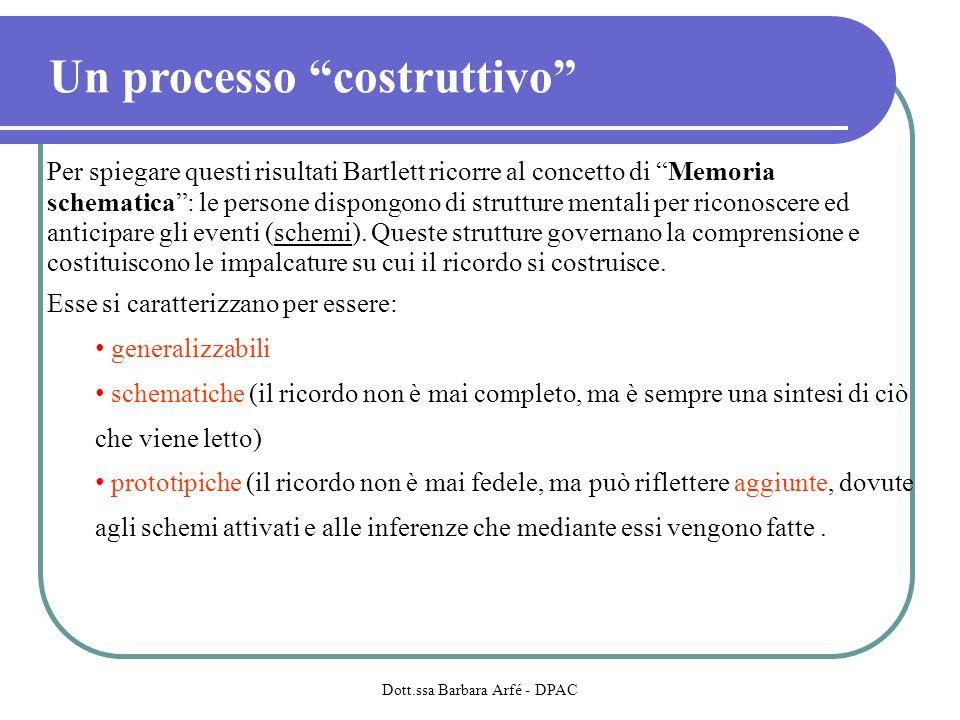 Un processo costruttivo Per spiegare questi risultati Bartlett ricorre al concetto di Memoria schematica: le persone dispongono di strutture mentali per riconoscere ed anticipare gli eventi (schemi).