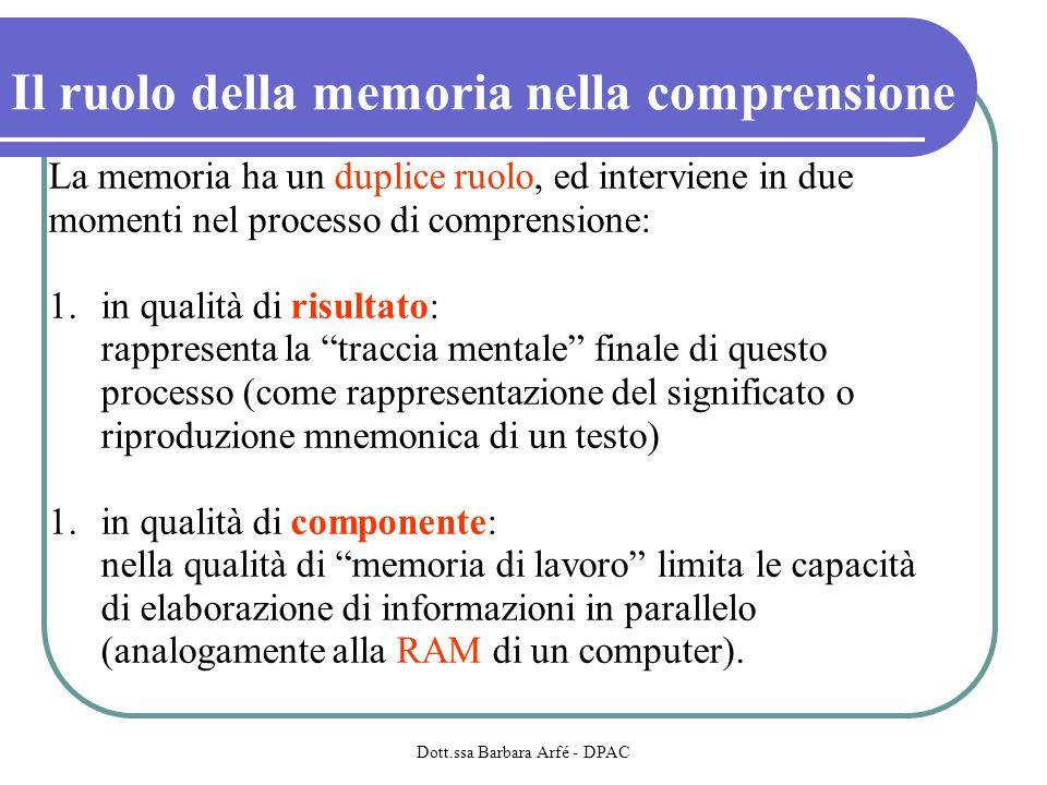 Il ruolo della memoria nella comprensione La memoria ha un duplice ruolo, ed interviene in due momenti nel processo di comprensione: 1.in qualità di risultato: rappresenta la traccia mentale finale di questo processo (come rappresentazione del significato o riproduzione mnemonica di un testo) 1.in qualità di componente: nella qualità di memoria di lavoro limita le capacità di elaborazione di informazioni in parallelo (analogamente alla RAM di un computer).