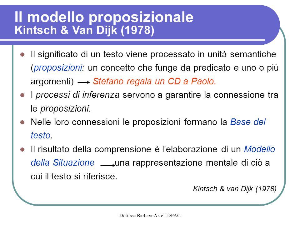 Il modello proposizionale Kintsch & Van Dijk (1978) Il significato di un testo viene processato in unità semantiche (proposizioni: un concetto che funge da predicato e uno o più argomenti) Stefano regala un CD a Paolo.