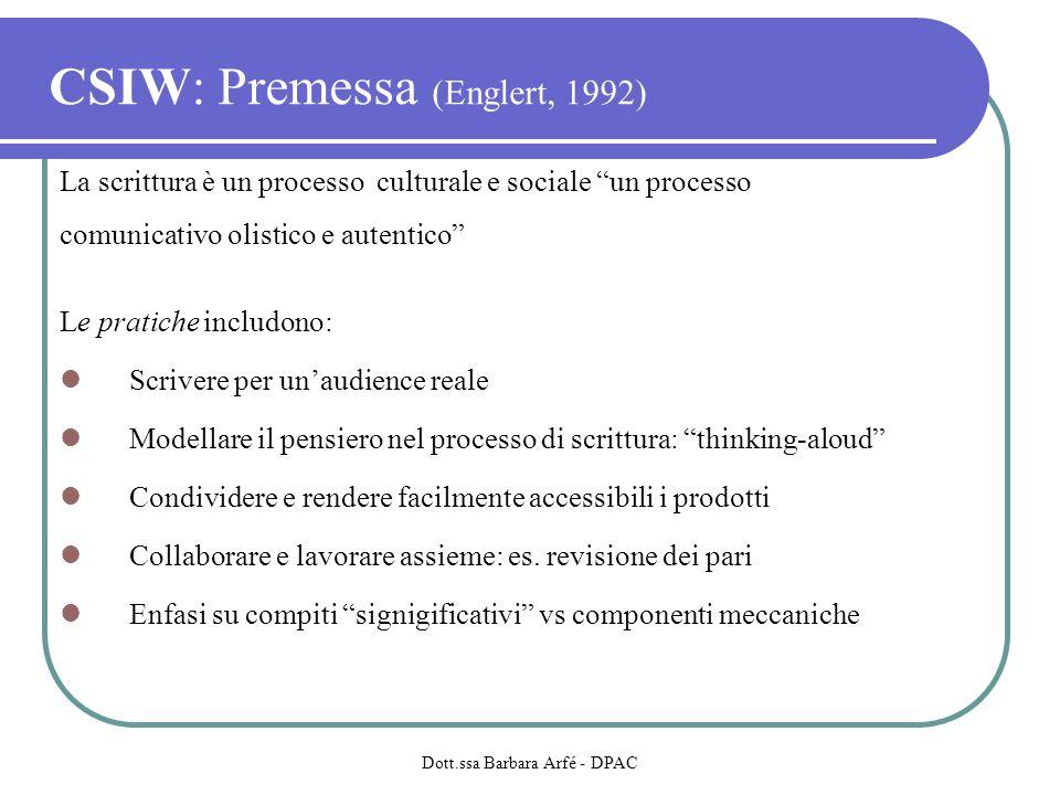 CSIW: Premessa (Englert, 1992) La scrittura è un processo culturale e sociale un processo comunicativo olistico e autentico Le pratiche includono: Scrivere per unaudience reale Modellare il pensiero nel processo di scrittura: thinking-aloud Condividere e rendere facilmente accessibili i prodotti Collaborare e lavorare assieme: es.