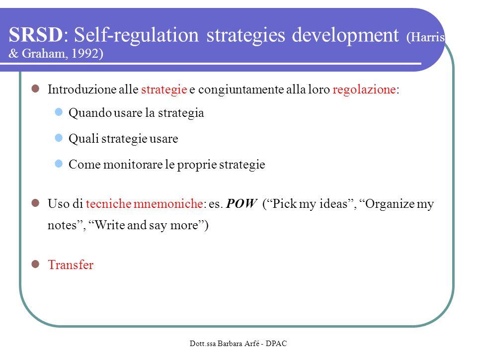 SRSD: Self-regulation strategies development (Harris & Graham, 1992) Introduzione alle strategie e congiuntamente alla loro regolazione: Quando usare la strategia Quali strategie usare Come monitorare le proprie strategie Uso di tecniche mnemoniche: es.