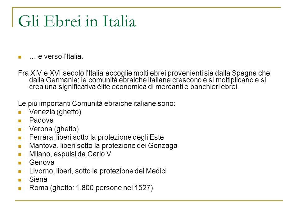 Gli Ebrei in Italia … e verso lItalia. Fra XIV e XVI secolo lItalia accoglie molti ebrei provenienti sia dalla Spagna che dalla Germania; le comunità