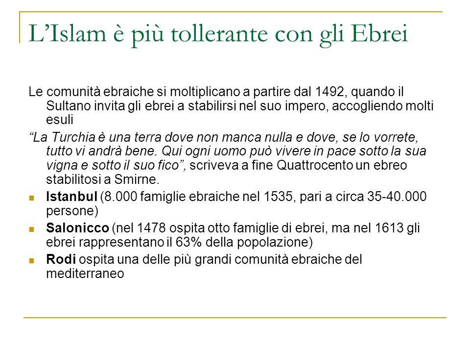 LIslam è più tollerante con gli Ebrei Le comunità ebraiche si moltiplicano a partire dal 1492, quando il Sultano invita gli ebrei a stabilirsi nel suo