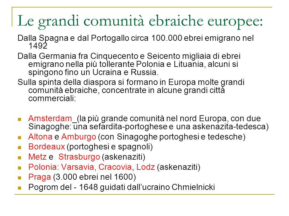 Le grandi comunità ebraiche europee: Dalla Spagna e dal Portogallo circa 100.000 ebrei emigrano nel 1492 Dalla Germania fra Cinquecento e Seicento mig