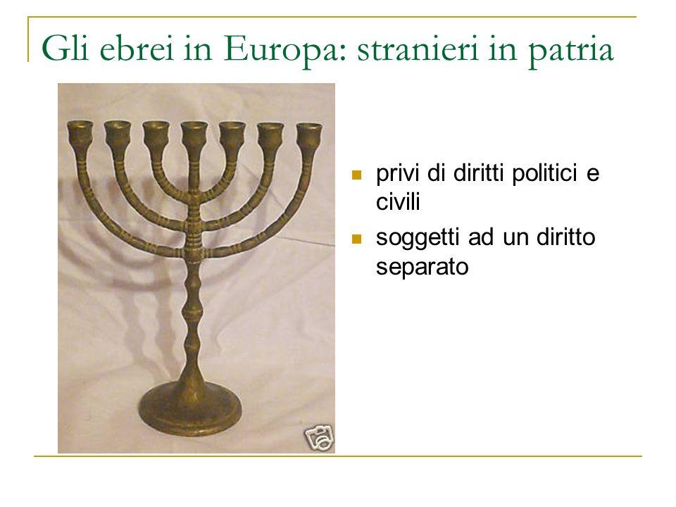 Gli ebrei in Europa: stranieri in patria privi di diritti politici e civili soggetti ad un diritto separato
