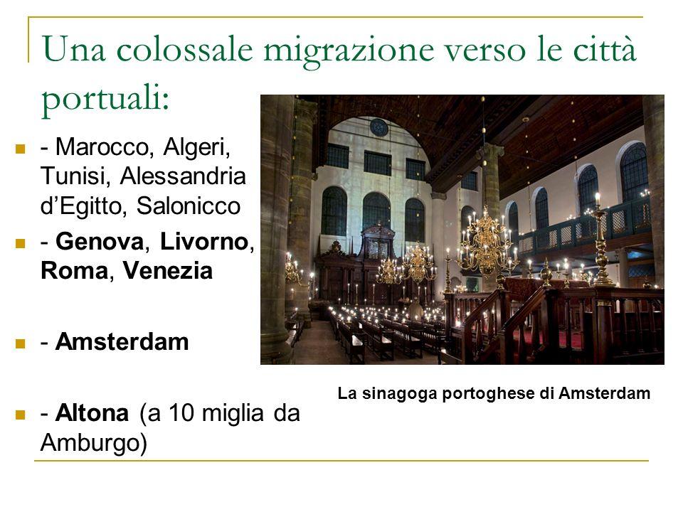 Una colossale migrazione verso le città portuali: - Marocco, Algeri, Tunisi, Alessandria dEgitto, Salonicco - Genova, Livorno, Roma, Venezia - Amsterd